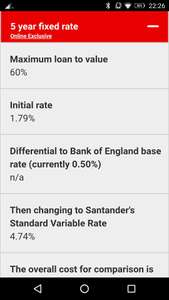 Santander 1.79% 5 year fixed rate mortgage 60% LTV No fee's