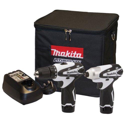 Makita DK1493WX 10.8 V Li-ion Cordless Kit, 2 Piece - White