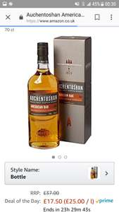 Auchentoshan American Oak single malt whisky at Amazon for £17.50 (Prime or add £3.99)