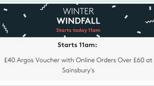 £40 argos voucher with online orders over £60 at sainsburys with vouchercodes from 11am