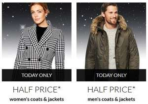 50% off men's and ladies coats today only at Debenhams