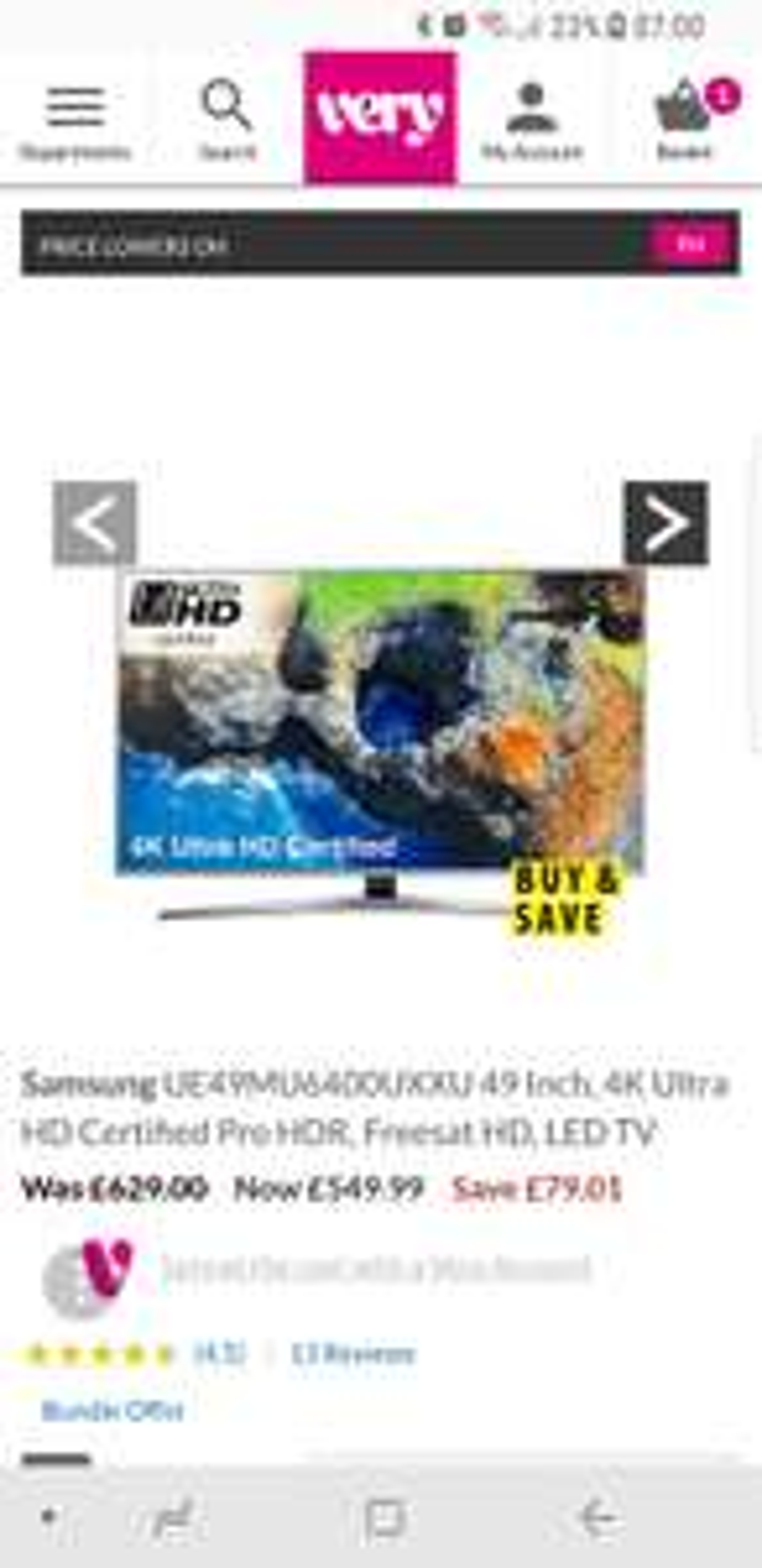 Samsung UE49MU6400UXXU  4k Ultra HD & HDR £549.99 at Very