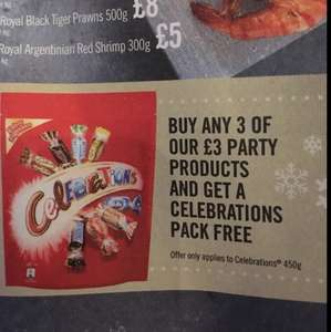 Free 450g pouch of celebrations when you buy 3 items from party range - Iceland