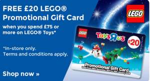 FREE £20 gift card (can be spent on anything) when you spend £75 on Lego @ Toys R Us *Now online AND instore*