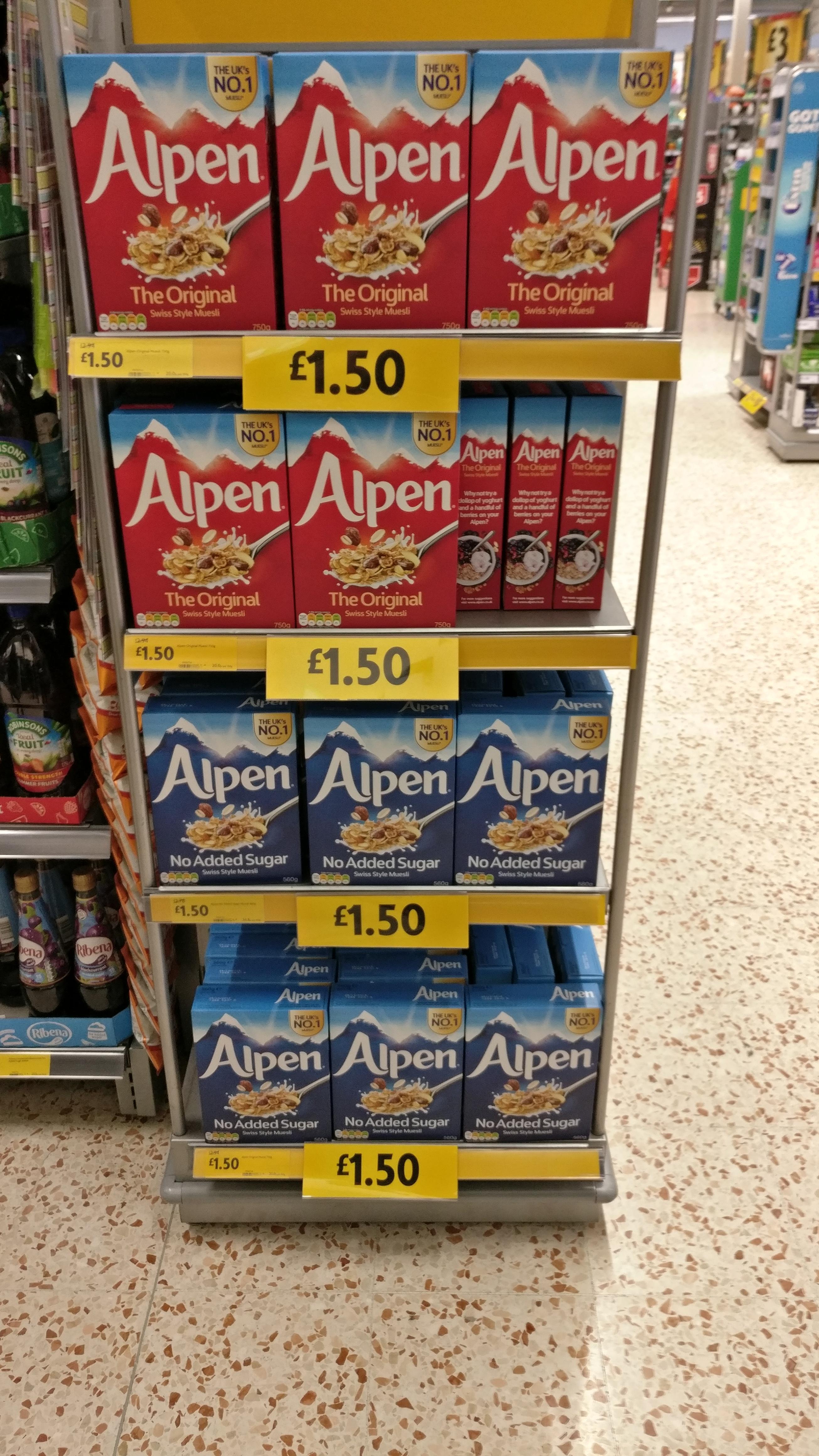 Alpen Original Muesli 750g (and 560g no added sugar) £1.50 @ Morrisons