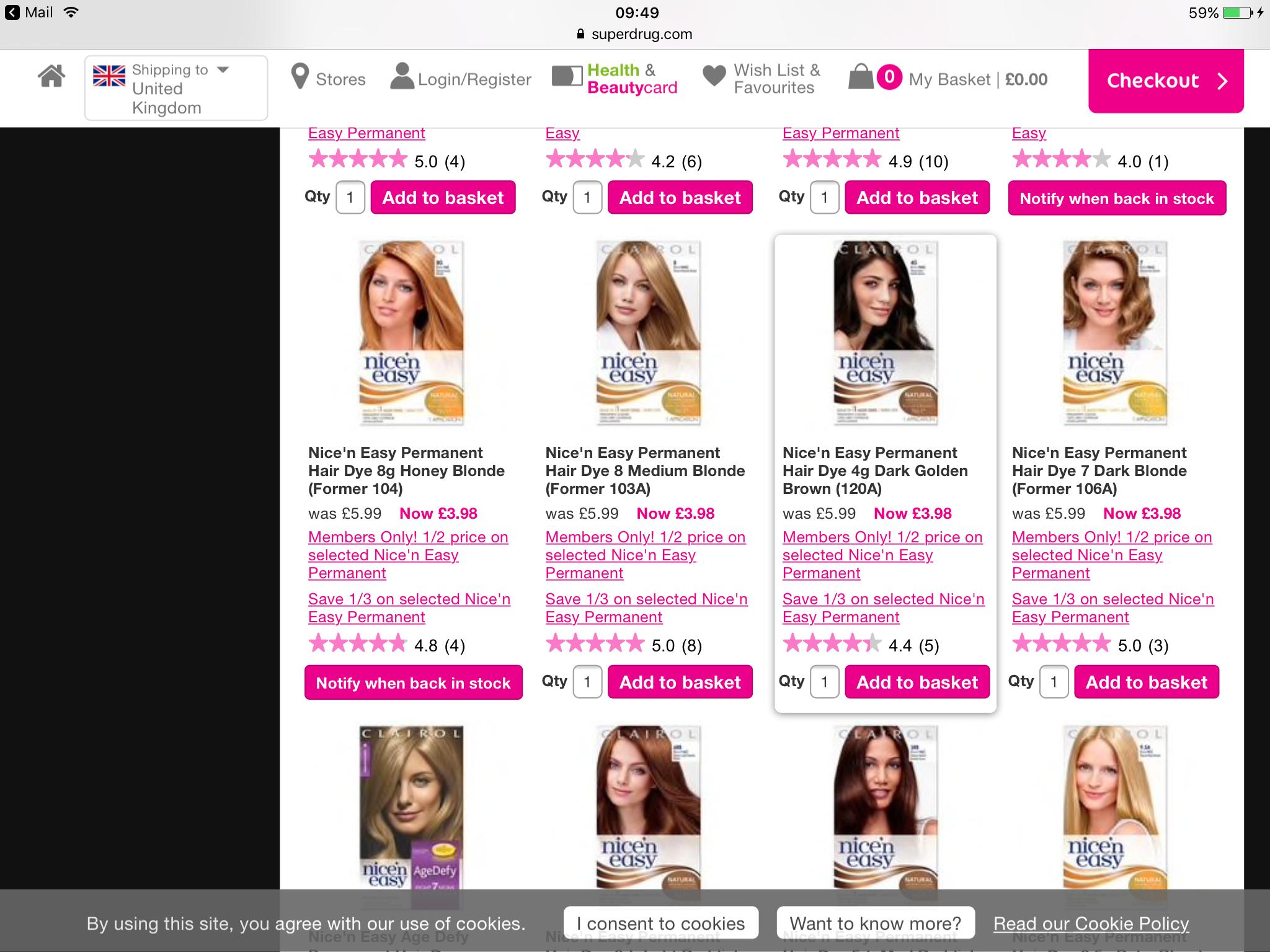 Nice n easy hair dye half price for beauty card members at Superdrug - £2.99