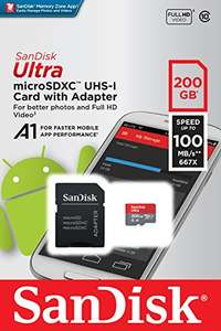 SanDisk Ultra 200GB microSDXC Memory Card + SD Adapter with A1 App Performance up to 100MB/s, Class 10, U1 £48.76 - Amazon sold by Amazon US