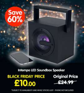 60% off on Intempo LED Soundbox Speaker £10 at B&M