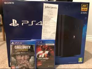 PS4 Pro + COD WWII + GT Sport + 2YR Guarantee - £282.95 at  John Lewis