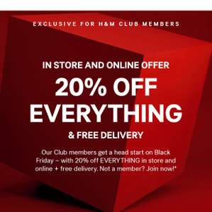 20% Off Everything & Free Delivery at H&M (In Store & Online)