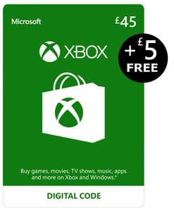 Xbox Live Credit £45 + £5 FREE Credit | Xbox Live Download Code @ Amazon