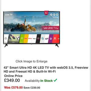 LG 43UJ630V 43 Inch Smart Ultra HD 4K LED TV with webOS 3.5, Freeview HD and Freesat HD & Built-In Wi-Fi £339 @ rgb Direct