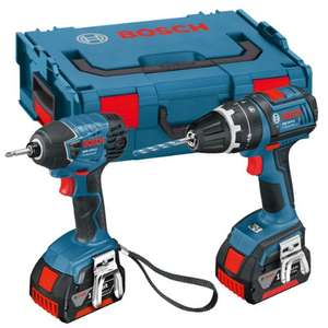 Bosch 0615990FN4 Professional GSB L-Boxx 18 V-LI Combi Drill and GDR 18 V-LI Impact Driver with Two 18 V 4.0 Ah Lithium-Ion Batteries £184.99 @amazon.co.uk (RRP:£408.00)