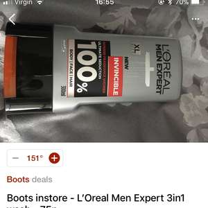 Boots instore - L'Oreal Men Expert 3in1 wash - 75p
