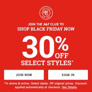 Abercrombie & Fitch Black Friday Sale - Get 30% Off Select A&F Styles‎