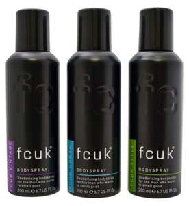 Fcuk Bodyspray Deodorant Trio £6.67 for 3 200ML with free click and collect @ Boots
