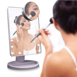 Portable LED Mirror in black or white with magnifier £9.99 inc delivery @ Shop4world