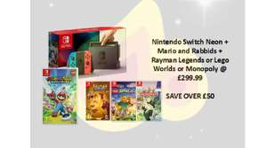 Nintendo Switch +Mario Rabbids+Rayman Legends OR Lego Worlds OR Monopoly £299.99 / PSVR With PS Worlds & PS Camera  + GT SPORT LE OR Skyrim VR + NOW TV  £249.99 / PS4  With COD WWII OR SW BF II + GT Sport LE + Hidden Agenda + Now TV £199.99 @ Game