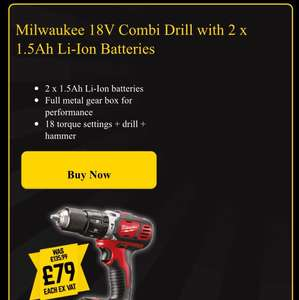 Milwaukee 18v Combi Drill with 2 1.5Ah Li-Ion Batteries £94.80 @ Selco  + other Bosch/Milwaukee tool reductions, follow link