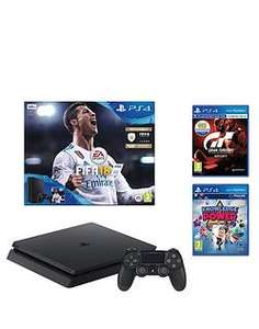 PS4 Playstation 4 Slim 500gb Console Bundle with FIFA 18, Gran Turismo Sport and Knowlege of Power £199.99 @ Very