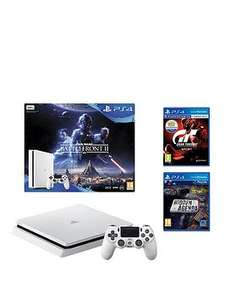 Playstation 4 Slim 500Gb Console (White) Bundle With Star Wars Battlefront 2 + Gran Turismo Sport + Hidden Agenda £199.99 @ Very