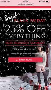 Oasis Black Friday Deal 25% off every full price item