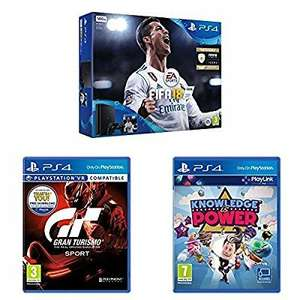 Sony PlayStation 4 (500GB) with FIFA 18 + Gran Turismo Sport + Knowledge is Power at Amazon for £199.99
