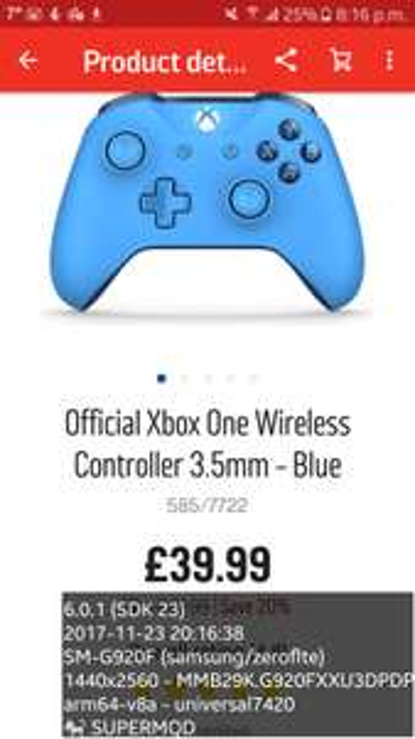 xbox one controllers 39.99 @ argos
