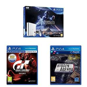 Sony PlayStation 4 (500GB White Console) with Star Wars Battlefront 2 + GT Sport + Hidden Agenda for £199.99 @ Amazon