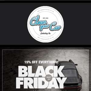 15%  everything at Clean Your Car starting 24th Nov