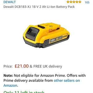 Dewalt 18v 2.0ah Battery for £21 @ Amazon - Sold and Fulfilled by Tools4Trade