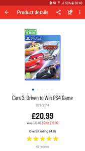 PS4 Cars 3 - Argos for £20.99