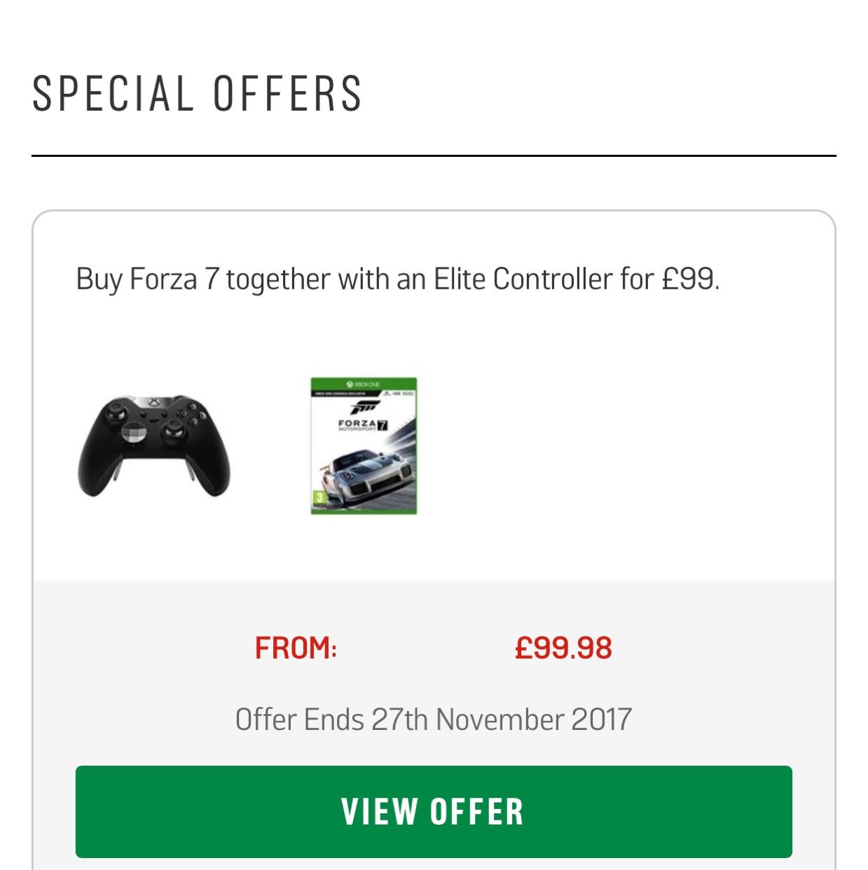 Xbox One Elite Controller plus Forza 7 at Argos for £99.98