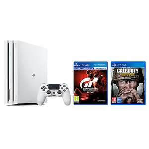 Sony PlayStation 4 Pro Console, 1TB, with DualShock 4 Controller, Glacier White and Gran Turismo Sport and Call of Duty: WWII - £316.95 @ John Lewis