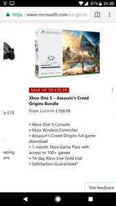 Unidays: £169.99 Xbox One S 500gb + Assassin's Creed Orgins