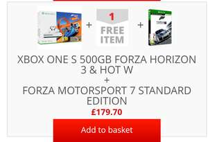 Xbox One S 500GB Console with Forza Horizon 3 Bundle + Forza 7 + Dishonored £179.70 @ ShopTo