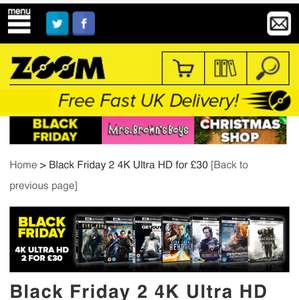 2 4K UHD movies for £30 and 10% off with @ Zoom