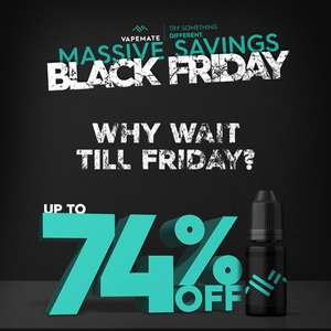 VapeMate eLiquids Black Friday - Up to 74% Off @ Vapemate