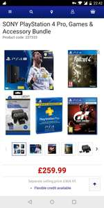 Sony Playstation 4 Pro, Games and Accessory Bundle @ Currys £259.99