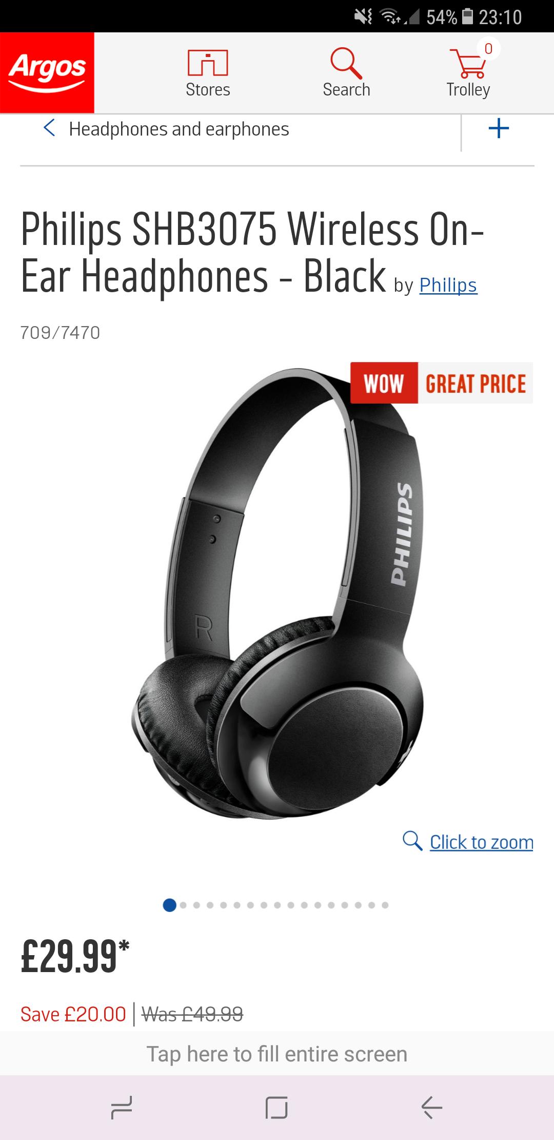 Philips SHB3075 Wireless On-Ear Headphones - £29.99 @ Argos