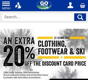Extra 20% off Go Outdoors for discount card holders instead of the usual 5%