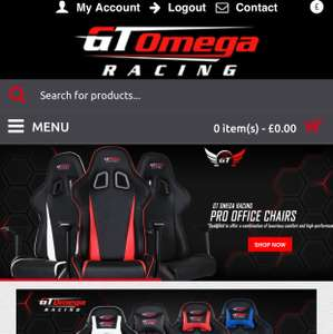 GT Omega Gaming Chairs 20% discount inc delivery £155