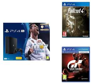 SONY PlayStation 4 Pro w/Fifa 18 + Fallout 4 + GT Sport
