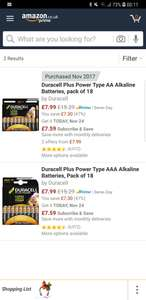 18 Duracell batteries  £7.99 prime / £11.98 non prime at Amazon