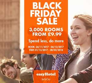 EasyHotel Rooms from £9.99. Black Friday Special