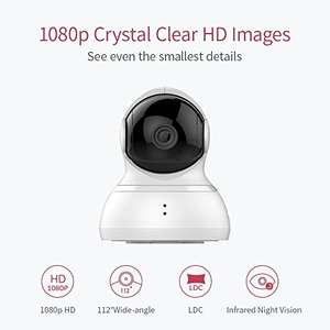YI Dome Camera 1080p HD Pan/Tilt/Zoom Wireless IP Security Surveillance System Night Vision Cloud Service Available - Sold by YI and FBA - £38.99
