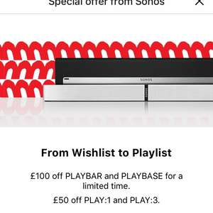 Save up to £100 - Play:1, Play:3, Playbase, Playbar, 5.1 Surround Sound Packages & Home Cinema Systems from £149 with possible 10% CB @ Sonos [BLACK FRIDAY DEAL]