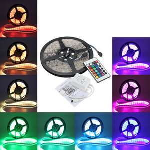 5M 5050 RGB Waterproof 300 LED Strip Light 12V DC 24 Key IR Controller - £5.86 Banggood