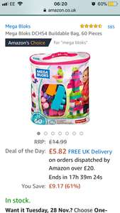 Mega Bloks DCH54 Buildable Bag, 60 Pieces £5.82  (Prime) / £10.57 (non Prime) at Amazon