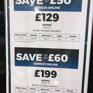 Sonos Play 1 £129 at  Dixon's Travel at London City Airport